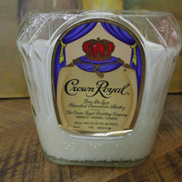 20 Ounce Pure Soy Candle in Reclaimed Crown Royal Liquor Bottle -  Your Choice of Scent