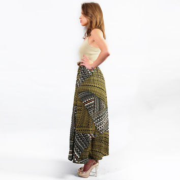 Safari green & gray Maxi Skirt
