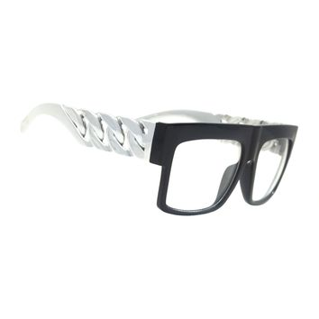 NWT Retro Oversized Clear Lens Glasses Carly Fashion Men Women Chain Style Frame
