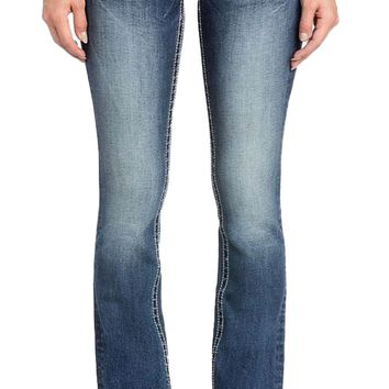 Miss Me Border Stitch Flap Pocket Boot Cut Jeans