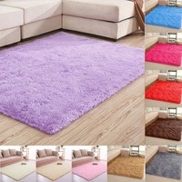 80*120cm Large Size Fluffy Rugs Anti-Skid Shaggy Area Rug Dining Room Carpet Floor Mat Home Bedroom Home Supplies