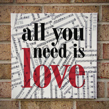 All You Need Is Love - The Beatles / Lyrics Art / Prints on Canvas - Sheet Music Art