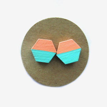Mint Peach Wooden Hexagon Earrings // Mint // Peach // Wooden Studs // Fall Earrings // Mint Earrings // Peach Earrings // Gifts for Her //