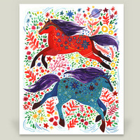 Horses both Red and Blue Art Print by yetzenialeiva on BoomBoomPrints