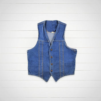 70s Vintage Denim Vest / GWG Scrubbies Jean Vest / Hipster Urban Outfitters Style
