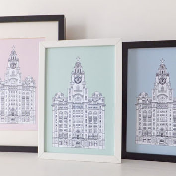 Liver Building, Liverpool, Mint Green Liverpool drawing, art print, home decor, Liverpool Print
