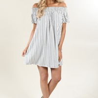 Pin Stripe Off The Shoulder Dress