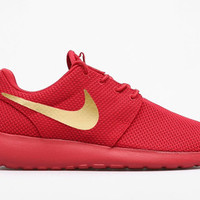 Nike Roshe Mens Yeezy Red October with Custom Gold Swoosh Design
