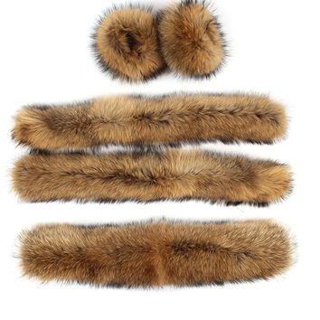 Large hooded furs real raccoon fur collar front fly and cuff