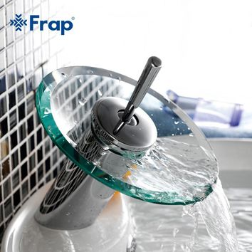 Frap Excellent Quality Solid brass Bathroom Basin Mixer Tap Waterfall Faucet Sink Vessel Chrome Polished Finish Glass F1055-2
