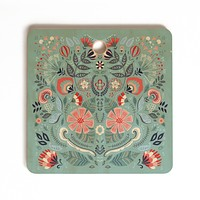 Pimlada Phuapradit Folk Floral Blue Cutting Board Square