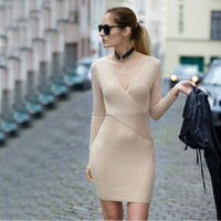 Beige V-Neck Wrap Around Long Sleeve Bodycon Dress