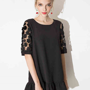 Black Floral Lace Short Sleeve A-line Ruffled Bottom Mini Dress