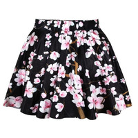Vintage Rockability Cherry Blossom Print Short Dress Mini Skirt Flared Pleated (Size: M, Color: Multicolor) = 1946463236