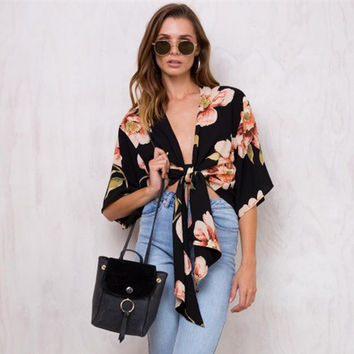 Fashion Flower Print Deep V-Neck Strappy Knotted Short Sleeve Chiffon Shirt Tops
