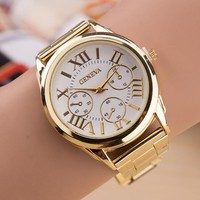 New Brand 3 Eyes Gold Geneva Casual business Quartz Watch Women Stainless Steel Dress Watches Relogio Feminino