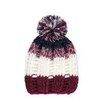 Striped Knit Pom Beanie