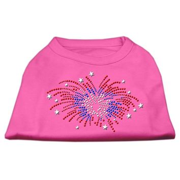 Fireworks Rhinestone Dog Shirt Bright Pink