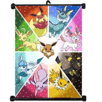 Anime Poster  GAME  Living Room Bedroom Mural Decor Wall Scroll Home Decoration Japanese cartoon 60*90CMKawaii Pokemon go  AT_89_9
