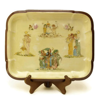 French Antique Platter. Hand Painted Ceramic Tray with Illustrations of The Ages of Life. Porcelain Platter. Allegorical Riddle Plate.