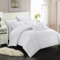 Chic Home 11 Piece Kanya Down Alternative Jacquard Striped Comforter Set, Bedding Basics, Full/Queen, White  with 4 Piece White Sheet Set