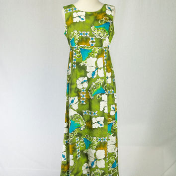 Vintage 1960's Mod Hawaiian Dress Green Turquoise Princess Empire Dress