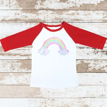 Rainbow Red Raglan Shirt | Rainbow Red Raglan for Toddlers | Rainbow with clouds Outfit