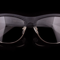 "Retro Clubmaster Wayfarer Clear Lens Wood Grain Glasses ""Showstopper"""