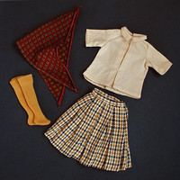 VINTAGE Remco JUDY Littlechap Doll Clothes Sportswear Plaid SKIRT Blouse Scarf Stockings c.1963