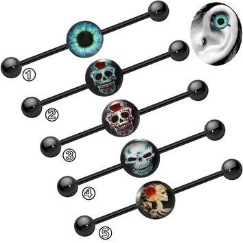 LOULEUR Stainless Steel Industrial Barbell Earrings Piercing Vintage Skull Cartilage Barbell Ear Fake Piercing Body Jewelry