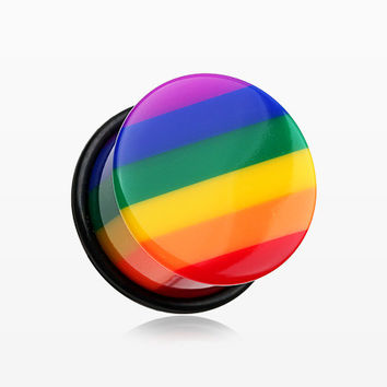 A Pair of Rainbow Stripe Single Flared Ear Gauge Plug