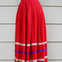 Vintage Long Skirt, Pleated Red Silk Skirt with Almond and Purple Ribbon Trim, circa 1910s-1930s