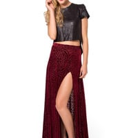 Burned Velvet Wine Split Skirt