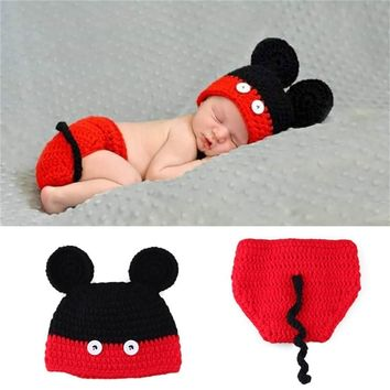 Newborn Photography accessories Props Mickey Mouse clothes Baby Crochet Hat and diaper set 0-4 months for boys and girls Costume