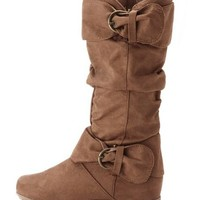 Sueded Double Buckle Flat Boot: Charlotte Russe