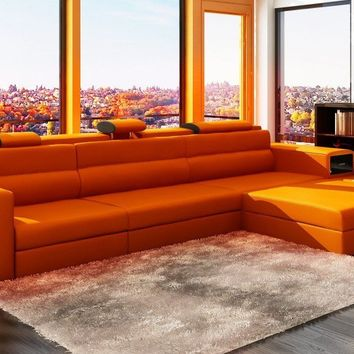 Divani Casa Polaris Mini - Contemporary Orange Bonded Leather Sectional Sofa