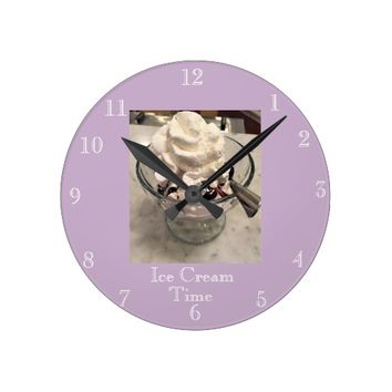 Ice Cream Time Round Clock