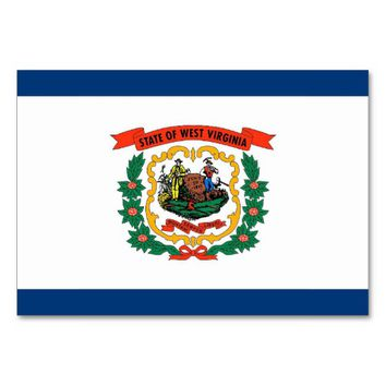 Patriotic table card with Flag of West Virginia