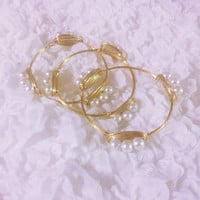 Pearls Gold Wire Bangle Bracelet Set of 3! FREE SHIPPING