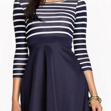 New Women Navy Blue Patchwork Striped Pleated Cute A-Line Backless Mini Dress