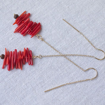 Long dangle threader earrings red coral wood 14k gold fill Modern bohemian tribal chic threads Contemporary Asian Beach style jewellery Sexy
