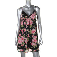 Lots Of Love Womens Juniors Floral Print Ruffled Casual Dress