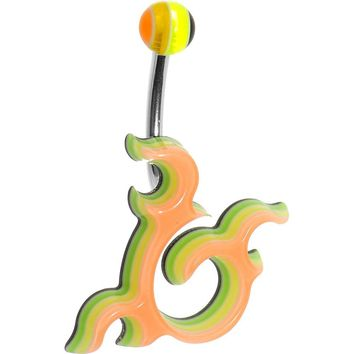 Light Orange Acrylic Multi Layered Right Tribal Dragon Belly Ring