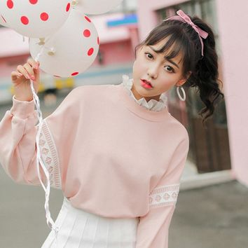 2018 harajuku sweatshirt korean fashion spring 2018 autumn kawaii bts hoodie personality sweet lace stitching pink hoodies women
