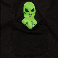 Green Alien In Pocket T-Shirt