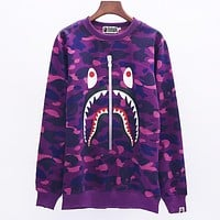 Bape Aape Fashion New Autumn And Winter Shark Print Camouflage Hooded Long Sleeve Couple Top Sweater Purple