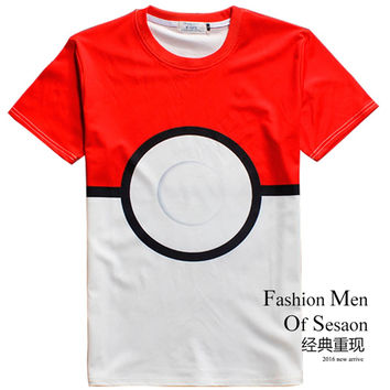 Summer Fashion Classic Tide Brand 3D T-shirt pokemon go plus Short Sleeve  Printing Couples Dress Sport Casual Tee Bape Anime