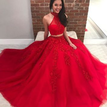 Two Piece Choker Neck Red Prom Dress, Applique Red Evening Dresses