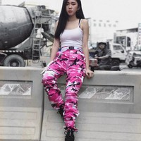 TREND-Setter 2017 Autumn Loose Hip Hop Pants Women Camouflage Punk Trousers Pink Hot Sell Camo Unisex Orange Purple Pink 3 Color