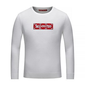 Supreme X Louis Vuitton Women or Men Fashion Casual Logo Embroidery Shirt Top Tee